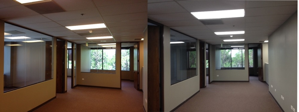 Office LED Installation Before and After Picture Buffalo NY